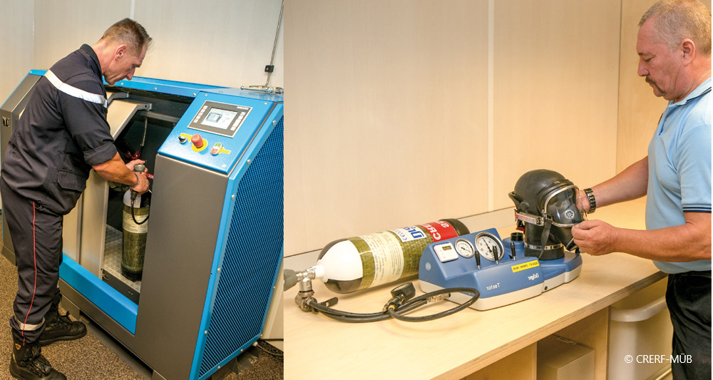 Atemschutzwerkstatt an Bord der MÜB